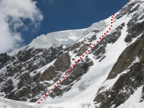 Route in der Eisrinne von 5200 - 6000m